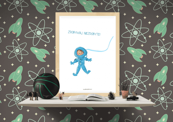 Plakat z astronautą - Bajkowierszyki dla młodej publiki